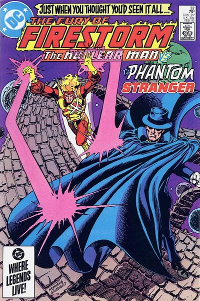 Fury of Firestorm The Nuclear Man #32 cover featuring the Phantom Stranger by Rafael Kayanan and Dick Giordano
