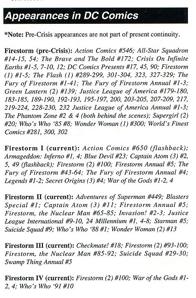 Firestorm appearances in the DC Univers as of 1993 from the Mayfair Games RPG supplement