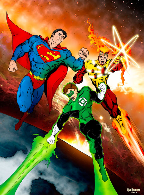 Firestorm, Superman, and Green Lantern by Rex Zachary