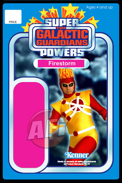 Firestorm Super Powers/Star Wars action figure card featuring Allen Lee Hansard as Firestorm