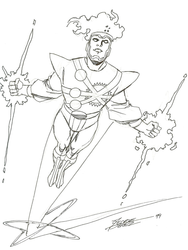 George Perez sketch of Firestorm 1999