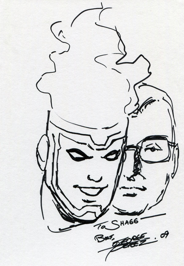 George Perez Firestorm quick head sketch from DragonCon