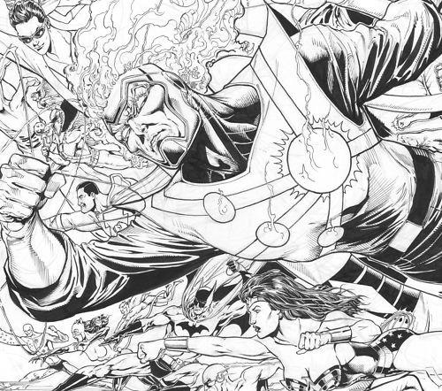 Firestorm and JLA by Ethan Van Sciver pencils