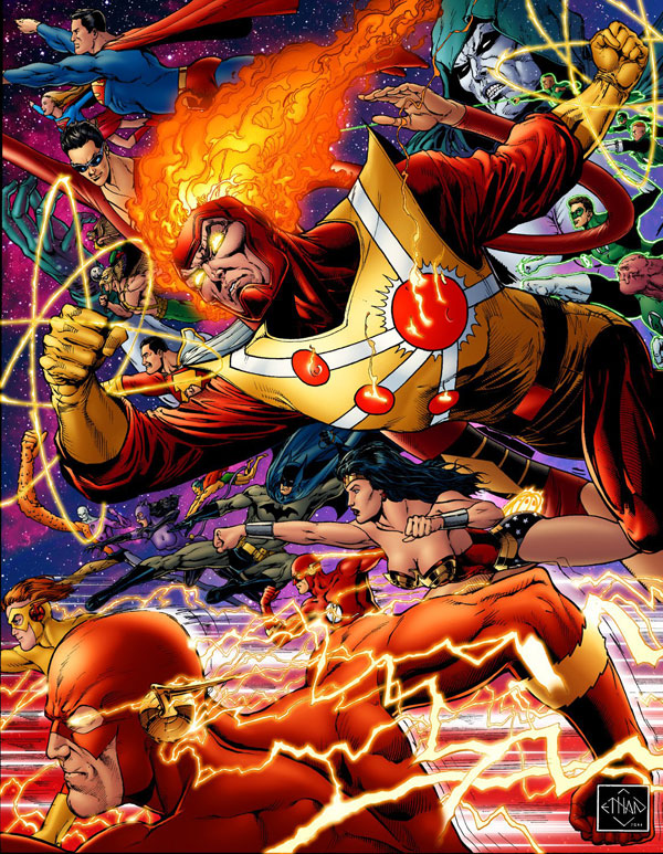 Firestorm and JLA by Ethan Van Sciver with colors by Moose