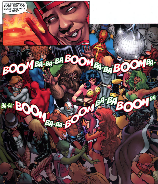 Firestorm at the JLA Christmas party by Alan Burnett and Kevin Maguire