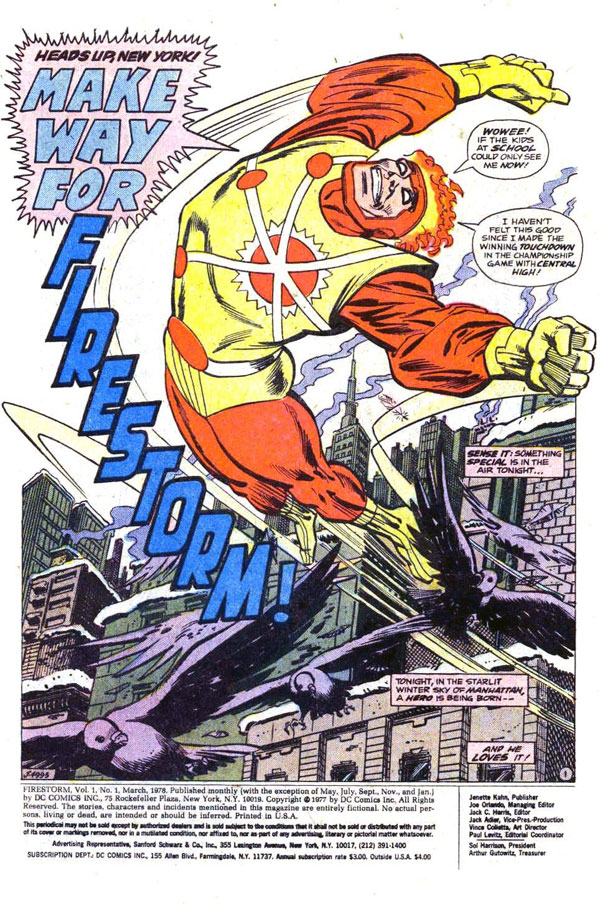 Firestorm's first appearance in Firestorm vol 1, issue #1, page 1 by Gerry Conway and Al Milgrom
