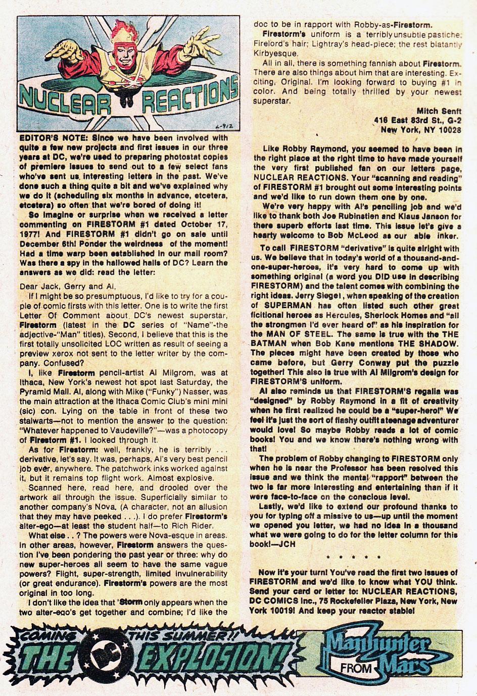 Firestorm #2 letter column featuring Robby Raymond