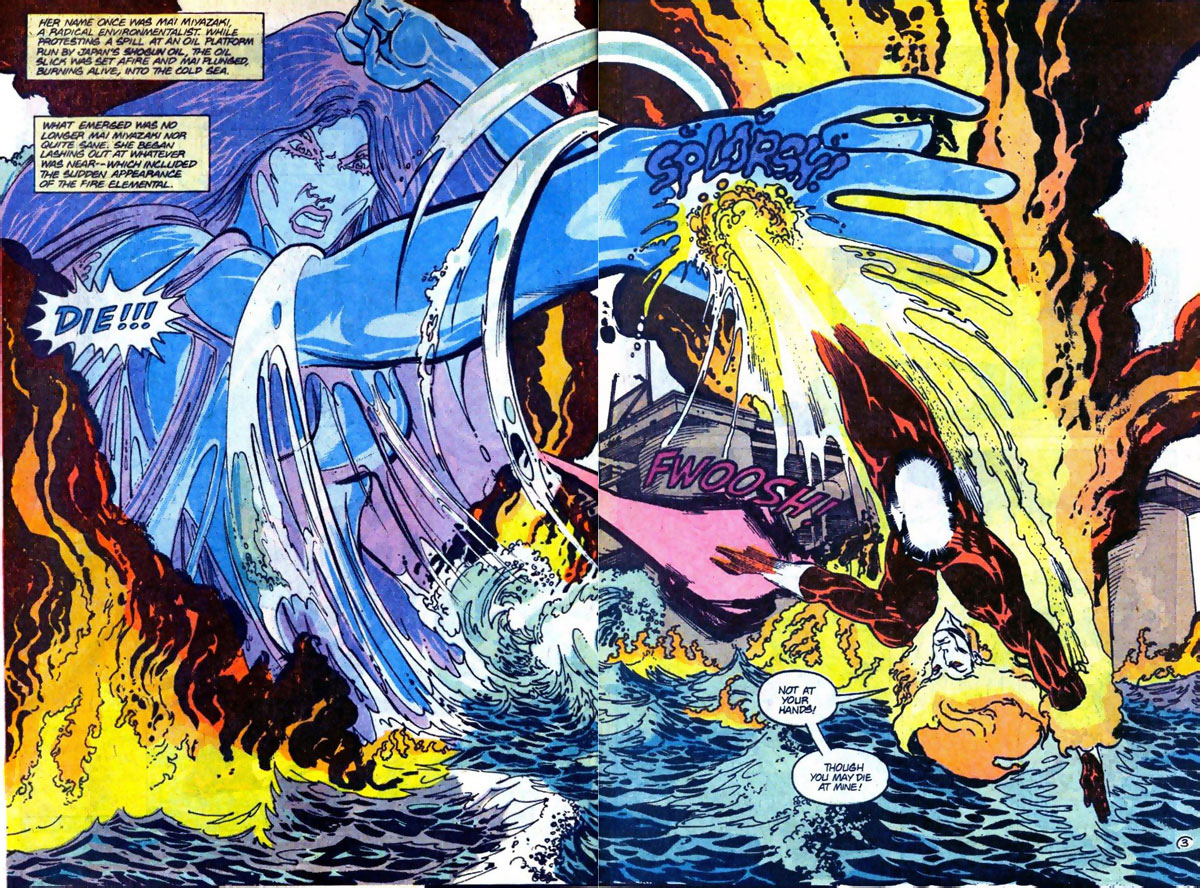 Firestorm #91 splash page by John Ostrander and Tom Mandrake