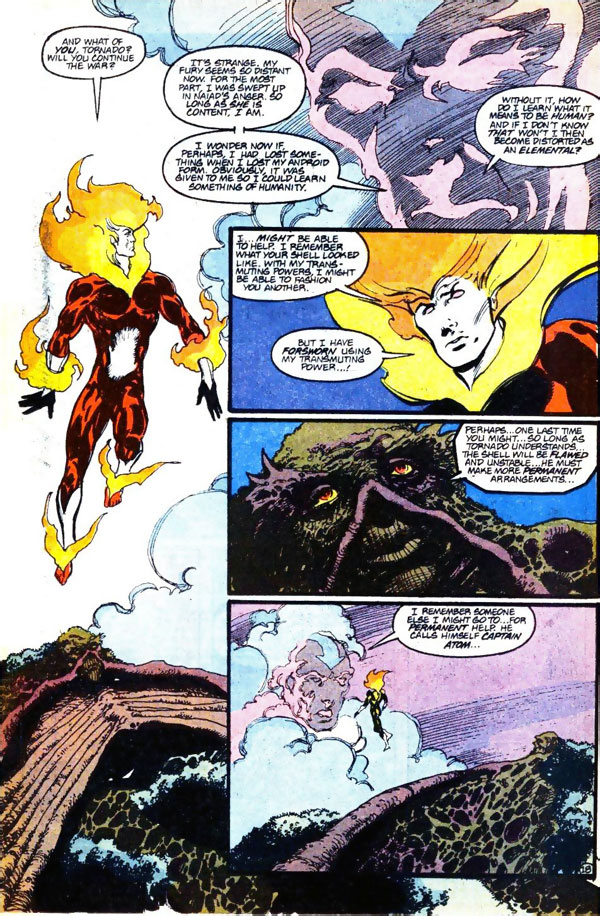 Firestorm #93 by John Ostrander and Tom Mandrake featuring Red Tornado and Swamp Thing