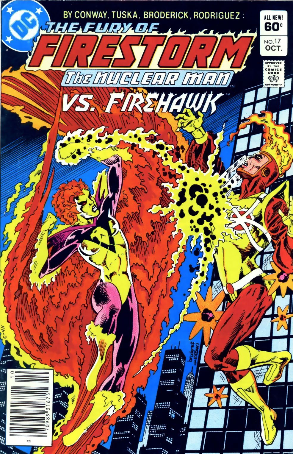 Fury of Firestorm the Nuclear Man #17 cover by Pat Broderick featuring Firehawk