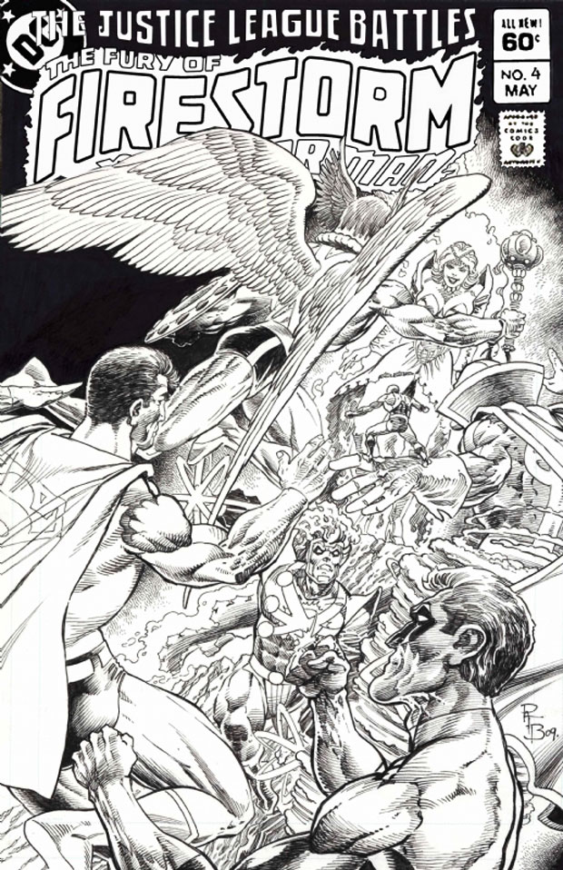 Fury of Firestorm the Nuclear Man #4 cover by Pat Broderick featuring Justice League of America and Killer Frost