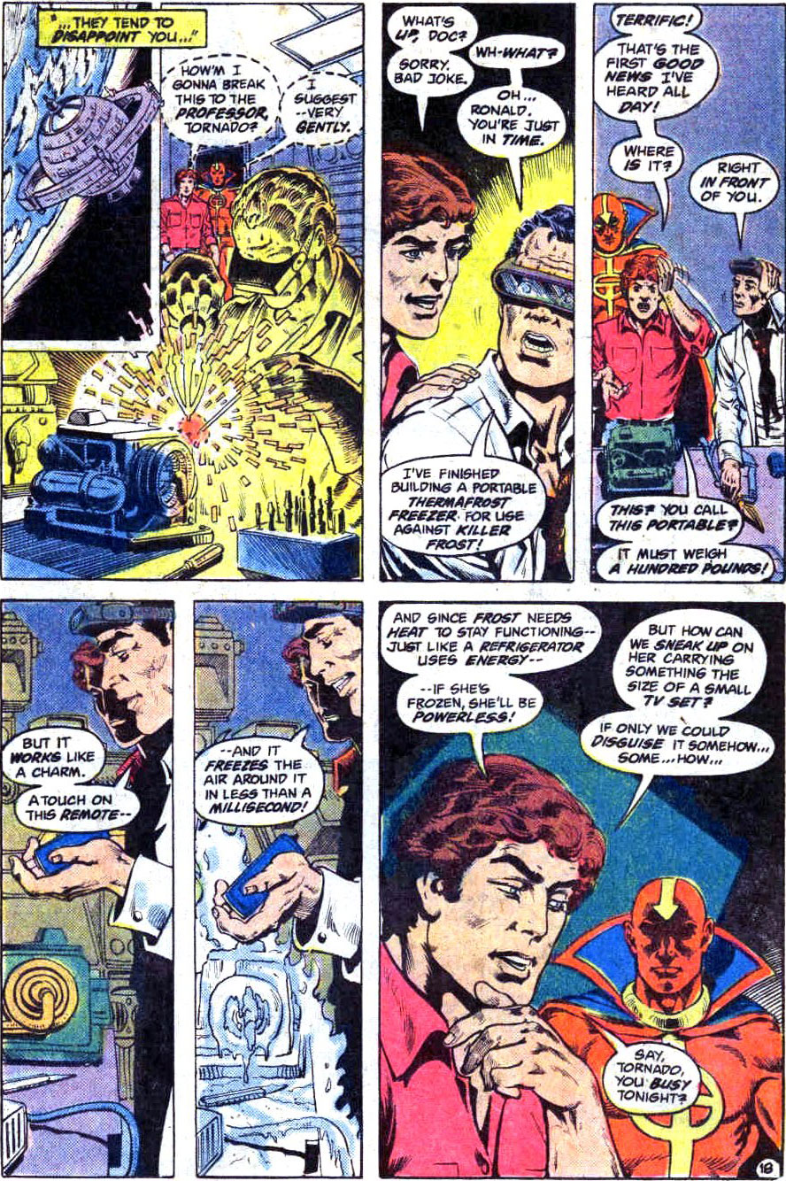 Ronnie Raymond & Professor Martin Stein on the JLA Satellite in Fury of Firestorm #4 by Gerry Conway, Pat Broderick, Rodin Rodriguez, and Gene D'Angelo
