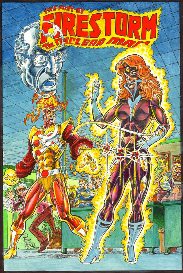Fury of Firestorm the Nuclear Man #7 cover revisited by Pat Broderick featuring Plastique