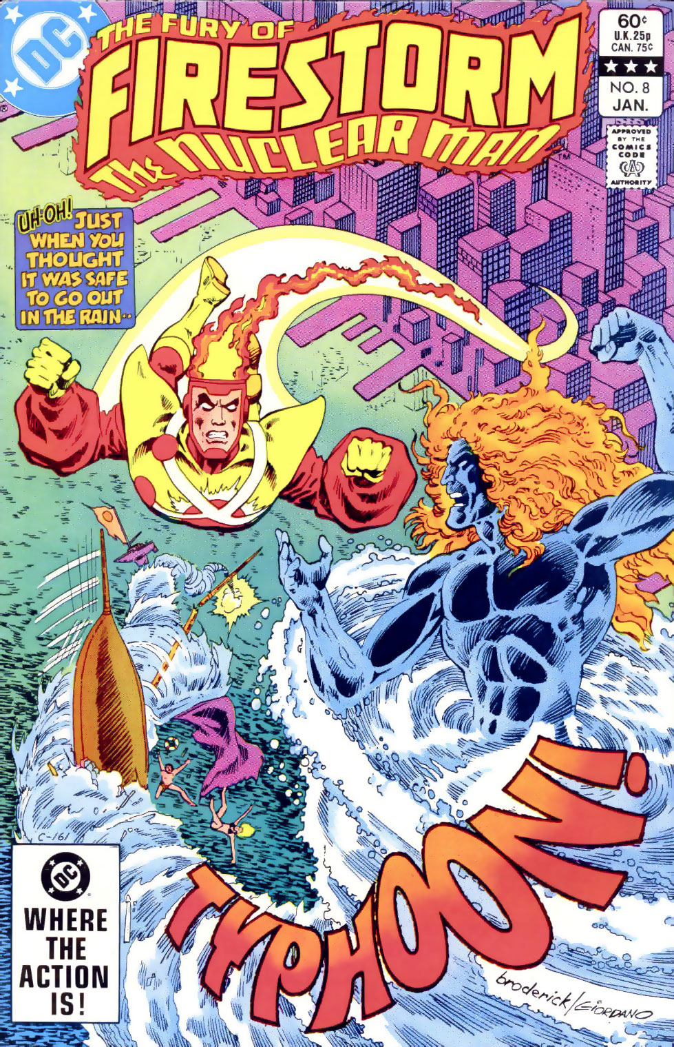 Fury of Firestorm The Nuclear Man vol II #8 cover by Pat Broderick and Dick Giordano