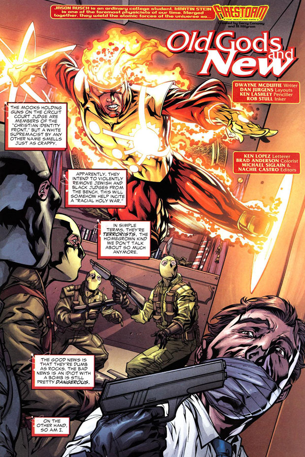Firestorm vol 3 #33, layouts by Dan Jurgens
