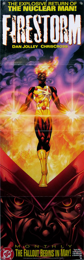 Firestorm poster by ChrisCross signed by Dan Jolley
