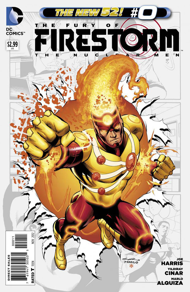 Fury of Firestorm The Nuclear Men #0 cover by Yildiray Cinar, Marlo Alquiza, and Hi-Fi Color