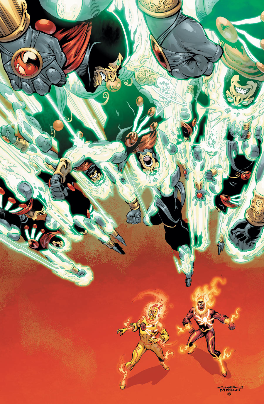 Fury of Firestorm: The Nuclear Men #12 cover by Yildiray Cinar, Marlo Alquiza, and Hi-Fi color