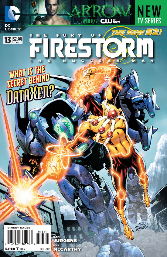Fury of Firestorm: The Nuclear Man #13 cover by Dan Jurgens, Ray McCarthy, and Hi-Fi Color