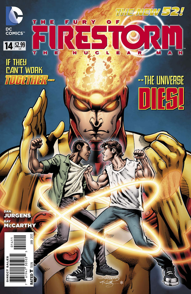 Fury of Firestorm: The Nuclear Man #14 cover by Dan Jurgens, Ray McCarthy, and Hi-Fi Color