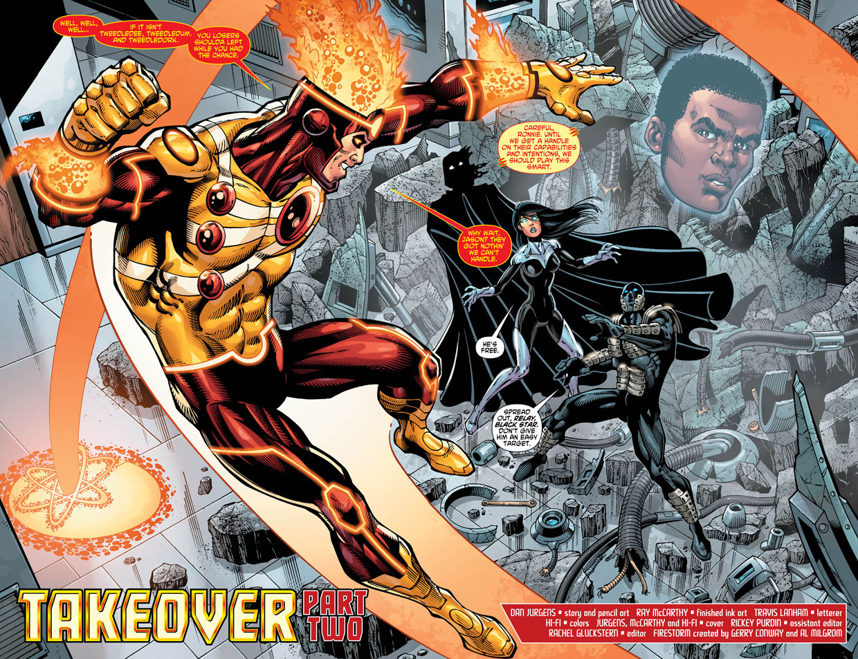 Fury of Firestorm: The Nuclear Man #14 pages 2 & 3 by Dan Jurgens, Ray McCarthy, and Hi-Fi Color