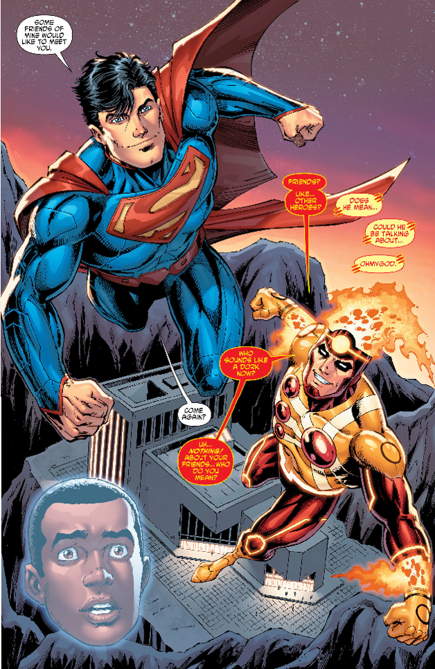 Firestorm and Superman by Dan Jurgens from Fury of Firestorm #20