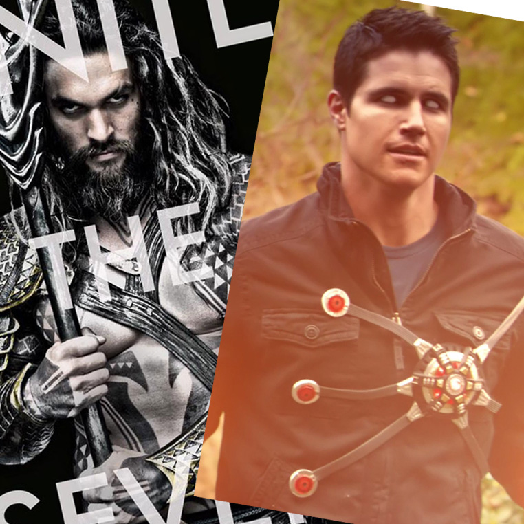 Jason Momoa as Aquaman and Robbie Amell as Firestorm
