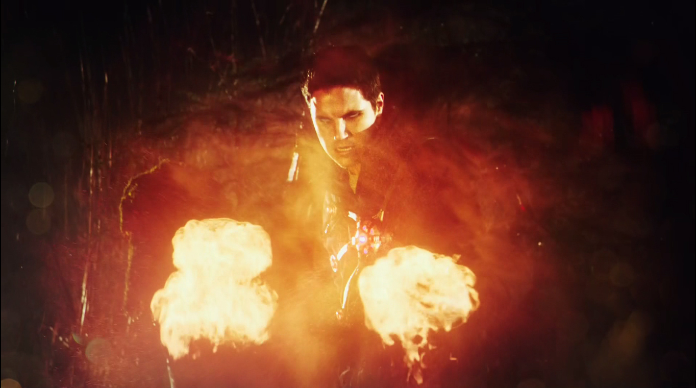 Victor Garber as Professor Martin Stein and Robbie Amell as Ronnie Raymond fusing to form Firestorm on The Flash