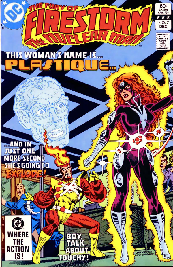 Fury of Firestorm the Nuclear Man #7 cover by Pat Broderick featuring Plastique