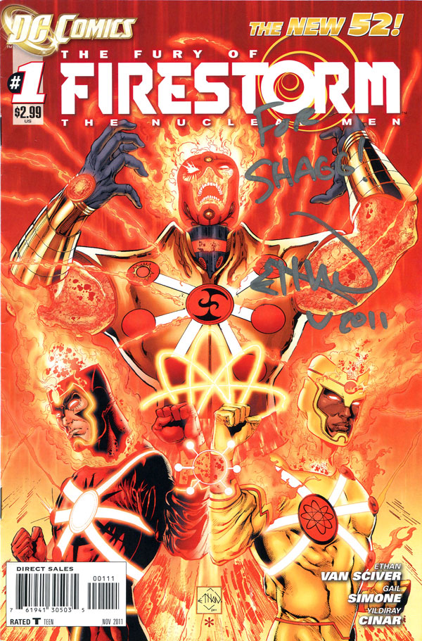 The Fury of Firestorm: The Nuclear Men #1 cover signed by Ethan Van Sciver