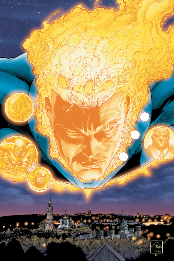 Mikhail Arkadin as Pozhar on the cover of Fury of Firestorm: The Nuclear Men #4 by Ethan Van Sciver