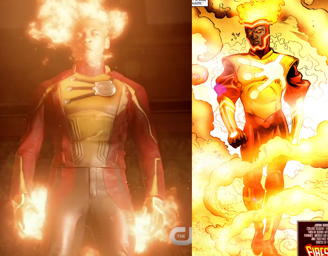 Firestorm from Legends of Tomorrow and Jamal Igle Firestorm from the comic book