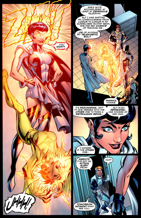 Gehenna vs Tomorrow Woman from Trinity #22 by Kurt Busiek, Mark Bagley, and Art Thibert