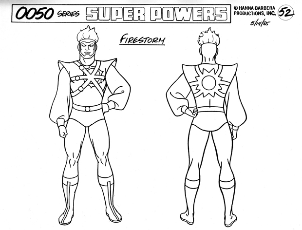 Super Powers Team: Galactic Guardians model reference sheets of Firestorm