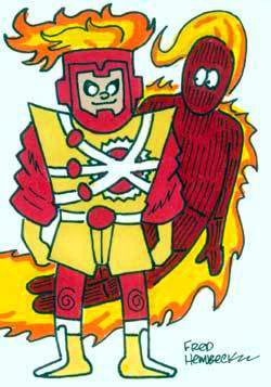 Fred Hembeck draws the Human Torch and Firestorm