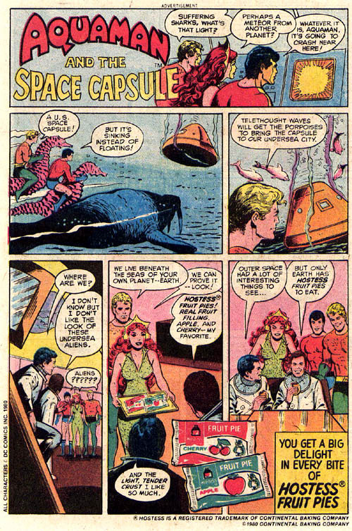 Hostess Fruit Pie Advertisement with Aquaman