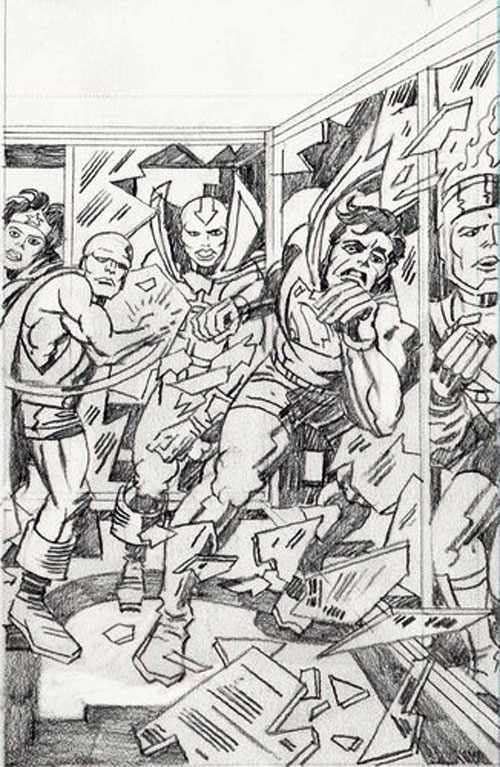 Jack Kirby pencils from Super Powers #6 featuring Firestorm