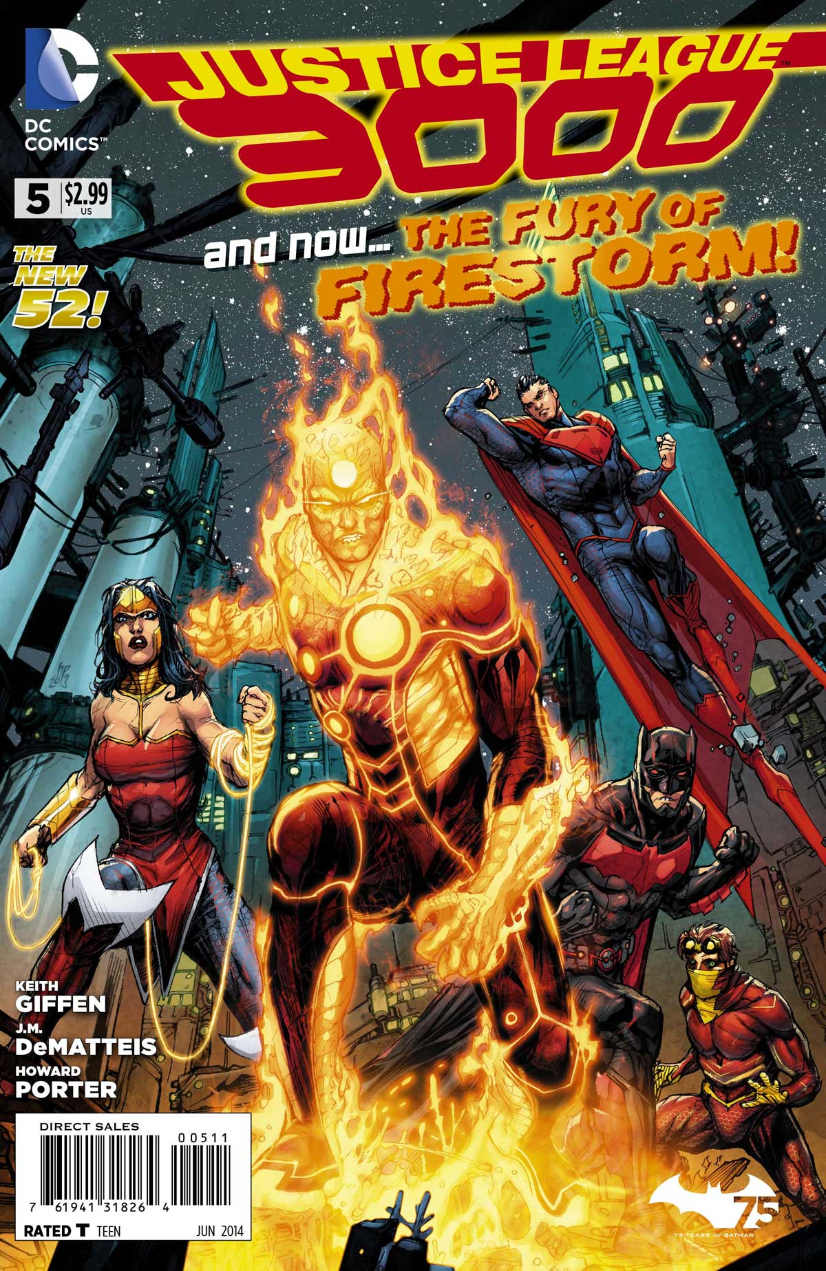Justice League 3000 #5 cover by Howard Porter featuring Firestorm