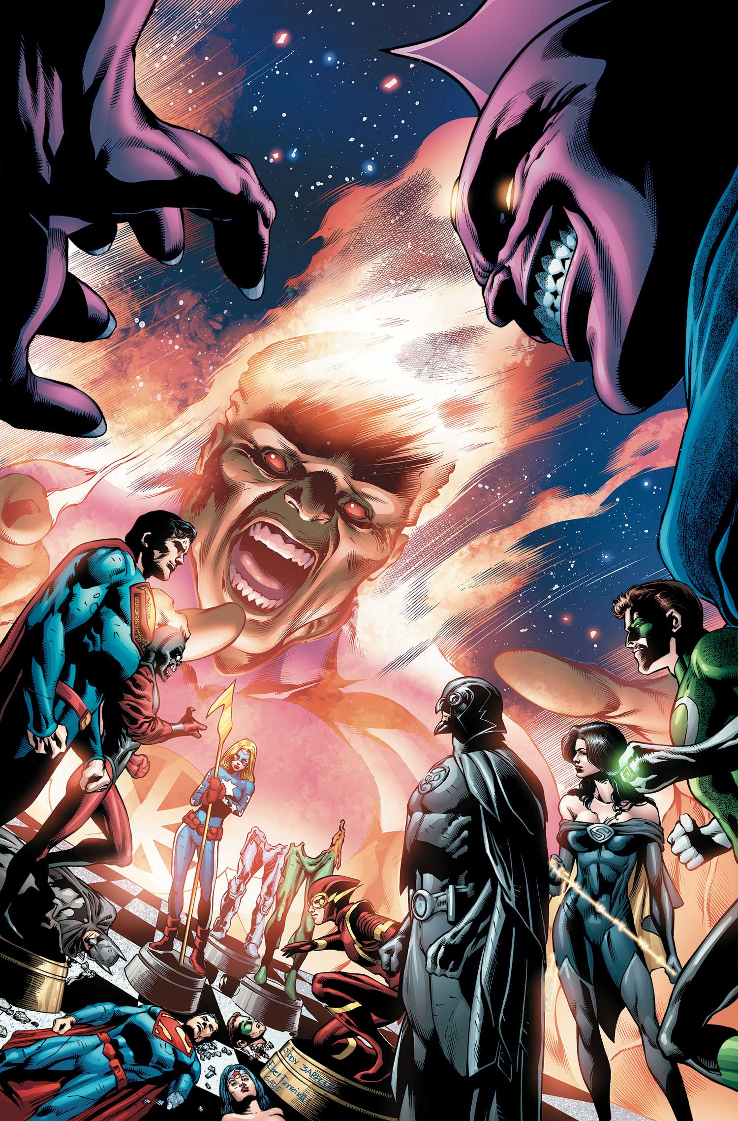 Justice League of America #12 cover by Eddy Barrows and Eber Ferreira