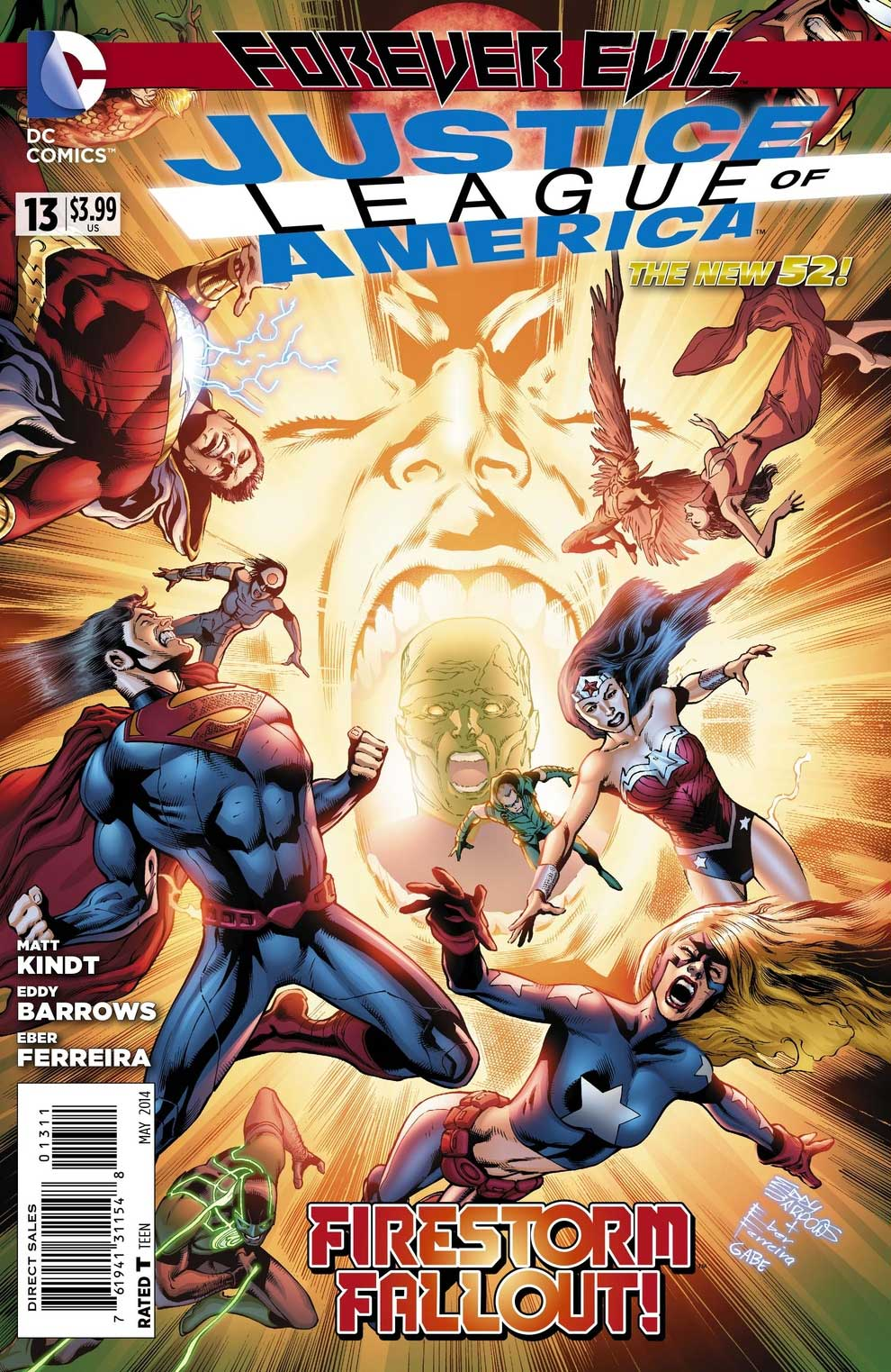Justice League of America #13 cover by Eddy Barrows and Eber Ferreira