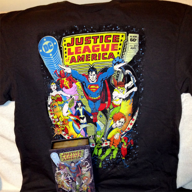 Justice League of America cover #217 by George Perez t-shirt from Kohls
