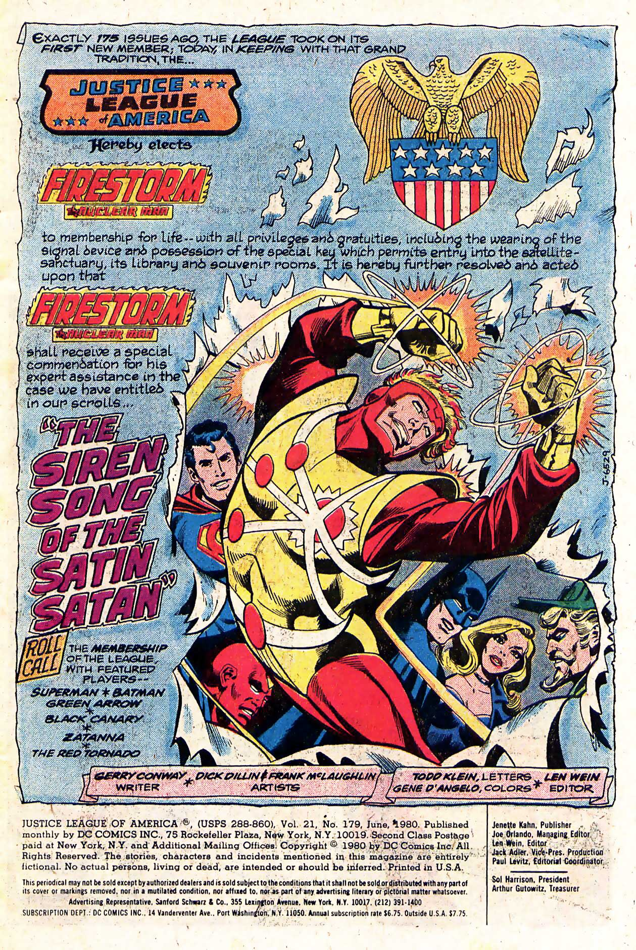 Justice League of America #179 opening splash page