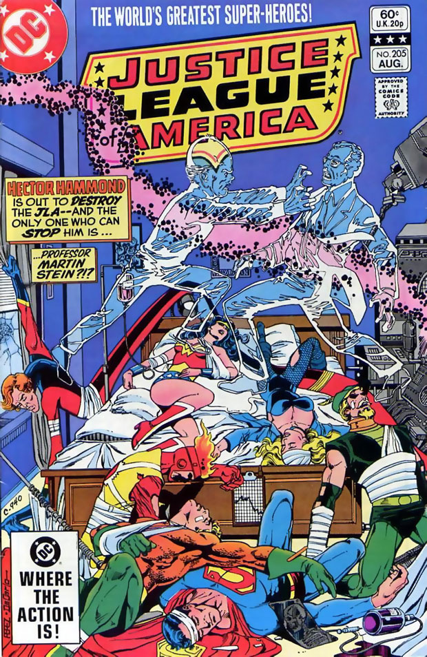 Justice League of America #205 by George Perez and Mike DeCarlo featuring Professor Martin Stein versus Hector Hammond