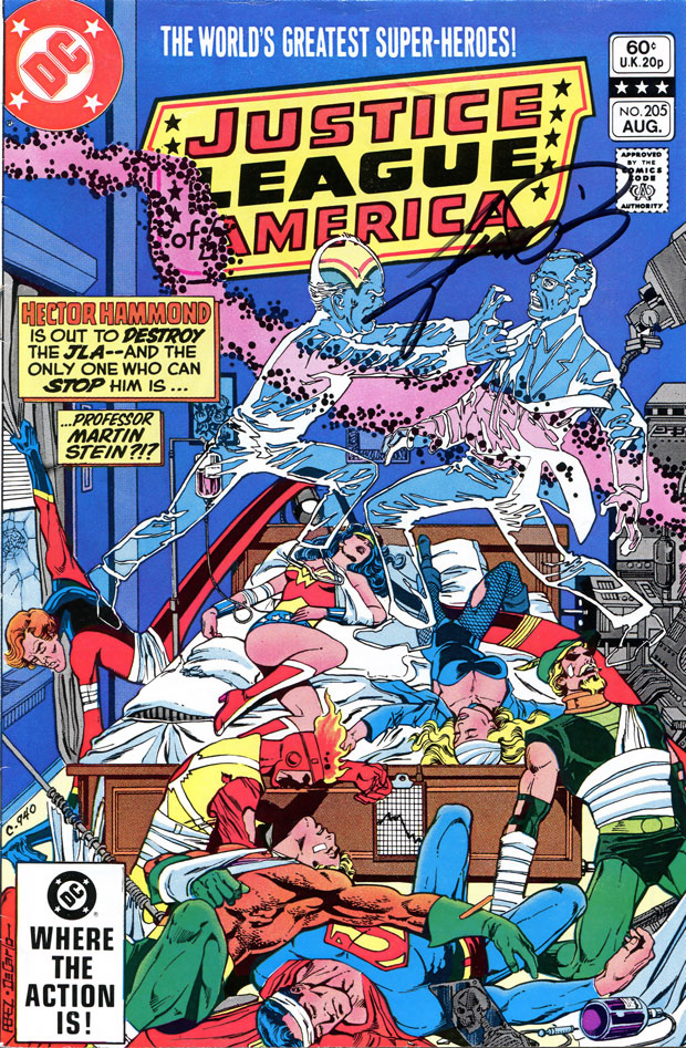 Justice League of America #205 cover by George Perez, autographed at DragonCon 2012