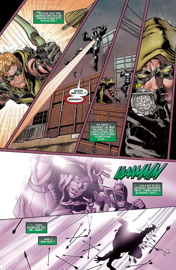 Justice League #13 starring Green Arrow and Multiplex by Geoff Johns, Jeff Lemire, Brad Walker, and Drew Hennessy
