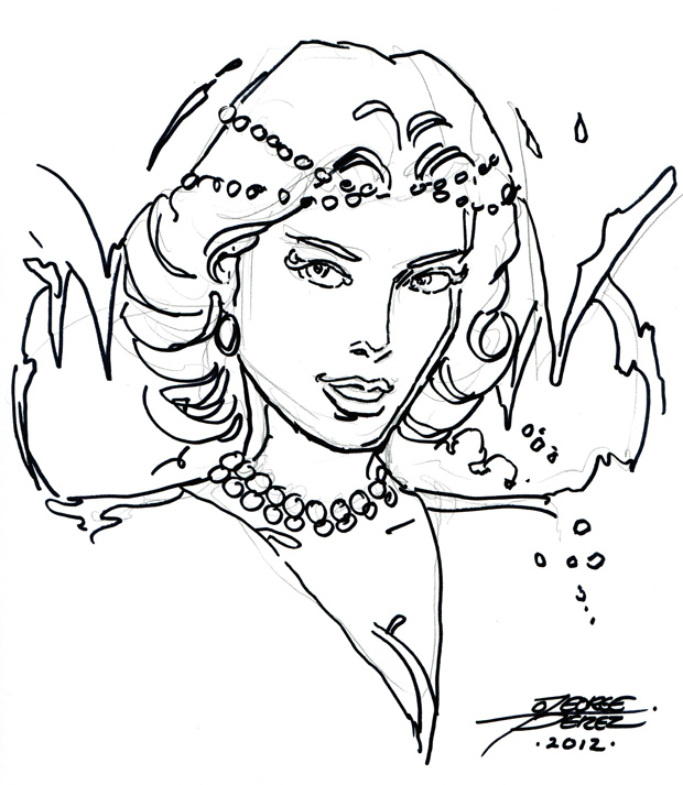George Perez Killer Frost quick head sketch from DragonCon