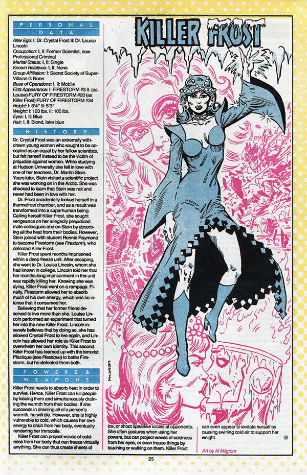 Killer Frost Who's Who entry by Al Milgrom