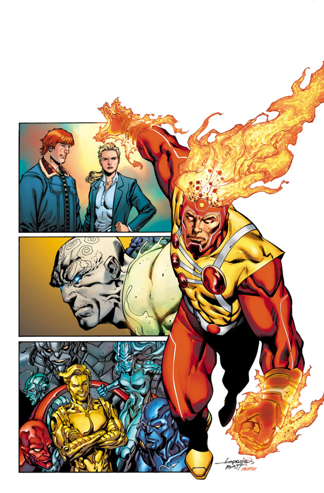 Legends of Tomorrow #1 comic cover with Firestorm by Aaron Lopresti