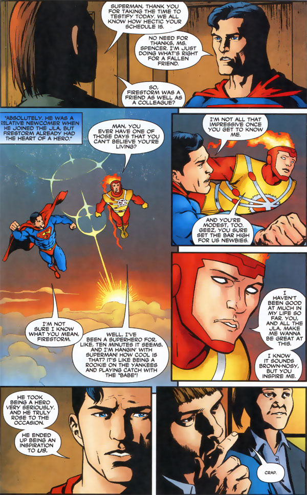 Superman testifies at the Shadow Thief trial for the murder of Firestorm