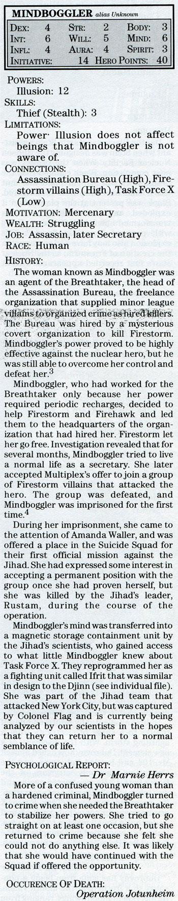 Mindboggler Mayfair DC Heroes RPG statistics 1988